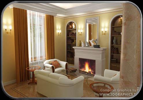 3d фото дизайн интерьеров каминная
